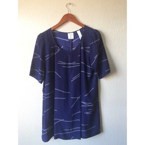Urban Outfitters Silk Abstract Print Tunic Top
